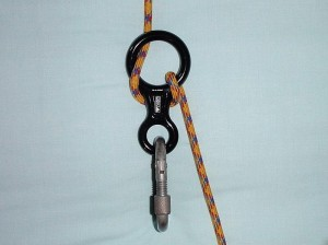 A figure of eight descender, single & double figure of eight knots and a steel HMS screwgate.