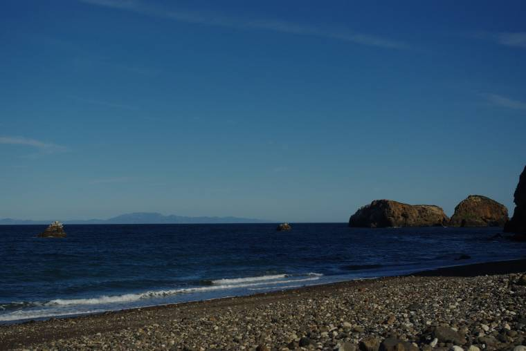 Pebble beach on the Island