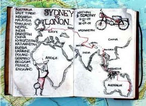Nathan's map of his route across the world to Lond Credit: Nathan Millward