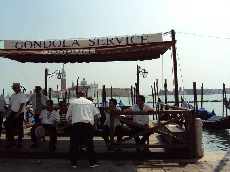 Gondoliers waiting for business, Piazza San Marco Credit:Robinson