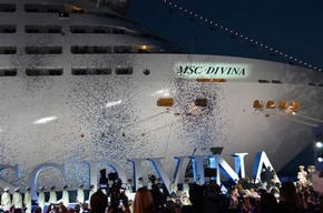 Seconds after the christening of the MSC Divina in late May 2012, it was time for streamers, lights and music. Photo: Helen Ueckermann