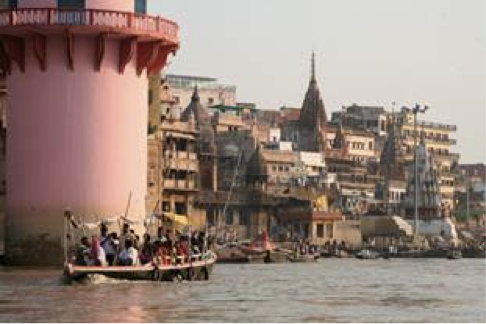 Sunrise on Ganges and Manikarnika Ghat