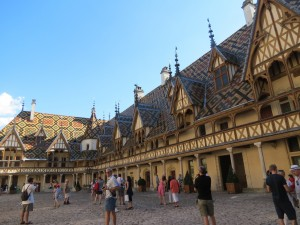 The spectacular courtyard of the Hospices de Beaune