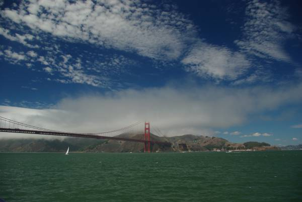 Golden Gate Bridge seen from the boat