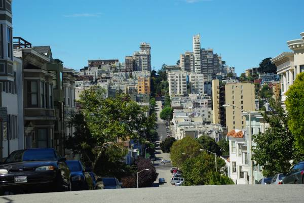Hilly roads in San Francisco