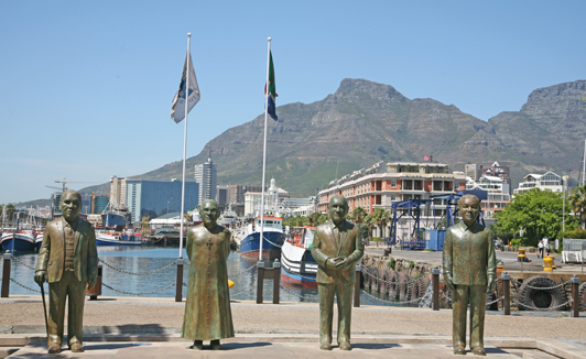 South Africa's Nobel Peace Prize winners on the V&A Waterfront in Cape Town.