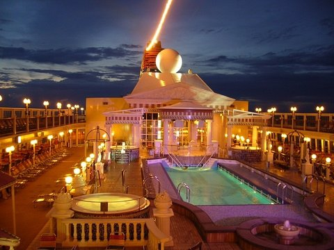A cruise ship deck at night